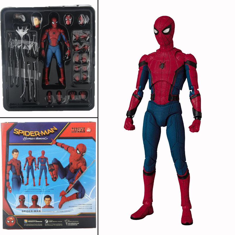 Mafex 047 Spider Man Peter Parker Homecoming Version  Justice League Action Figure Model Toys Doll Gift