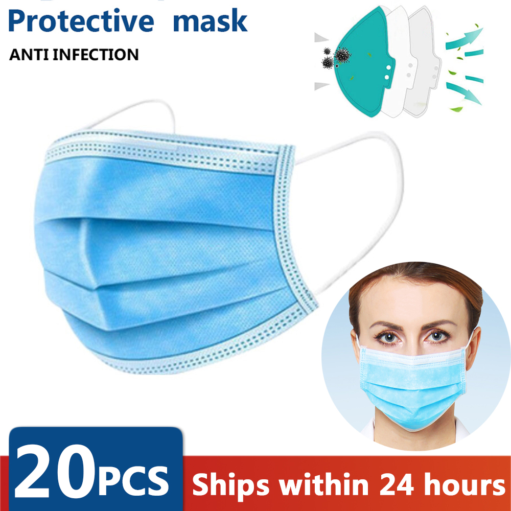 10/20/50 PCS 3 Layer Non-woven Dust  Mask N95 Thickened Breathable Disposable Mouth Mask Same As KF94 FFP2
