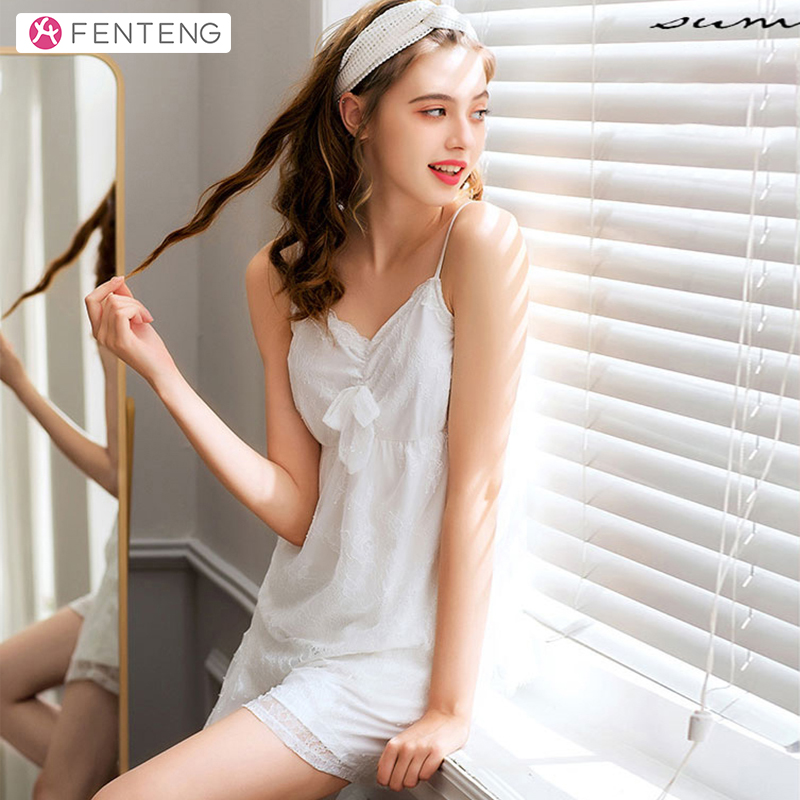 FENTENG Summer Pajamas Women White Sling Tops&Lace Shorts Sleepwear Female Clothing Pullover Casual Home-Suit 2PCS J98922434