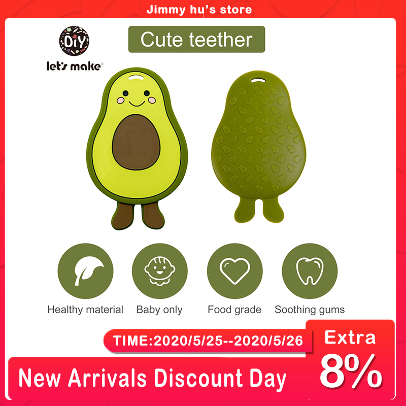 Let's Make 1PC Silicone Teether For Teeth Avocado DIY Baby Teether Rodent BPA Free Pacifier Pendant Chewing Gum Nursing Tiny Rod