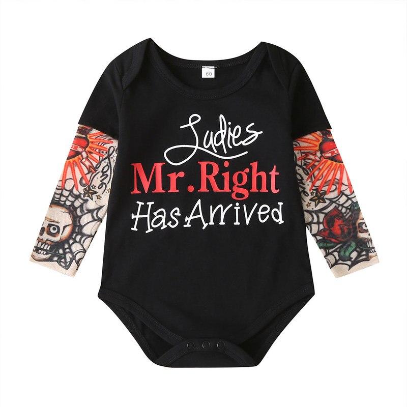 Hipac 2020 bebê recém-nascido macacão infantil 0-24m senhoras senhor direito chegou carta impresso tatuagem manga meninas macacão meninos