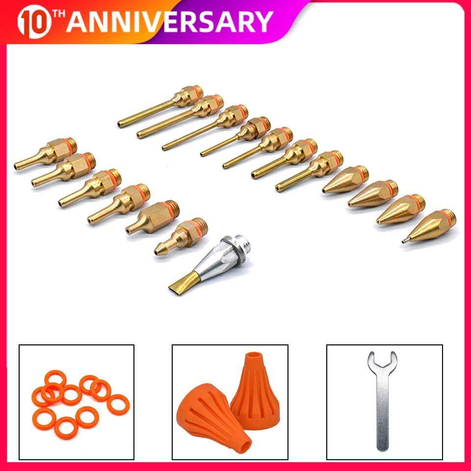 18Pcs/set Glue Gun Copper Nozzle Small-bore Long Short Large Diameter Hot Melt Glue Gun Accessories To Send Wrench / Gum Cover