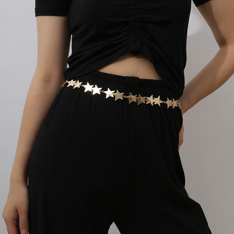 1pcs Punk Fashion Star Women Jewelry Party Dress Waist Chain Metal  Belts Waistbands