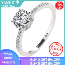 YANHUI Classic Eternity 1 Carat Zirconia Diamond Wedding Rings 100% Real Original 925 Silver Rings For Women XR068 yanhui silver 925 jewelry eternity 1 carat lab diamond wedding rings luxury original 925 silver rings gift for women jz068