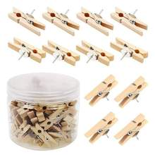 Push Pins With Wooden Clips 50Pcs Thumbtacks Pushpins Creative Paper Clips Clothespins Natural Color for Cork Board and Photo(China)