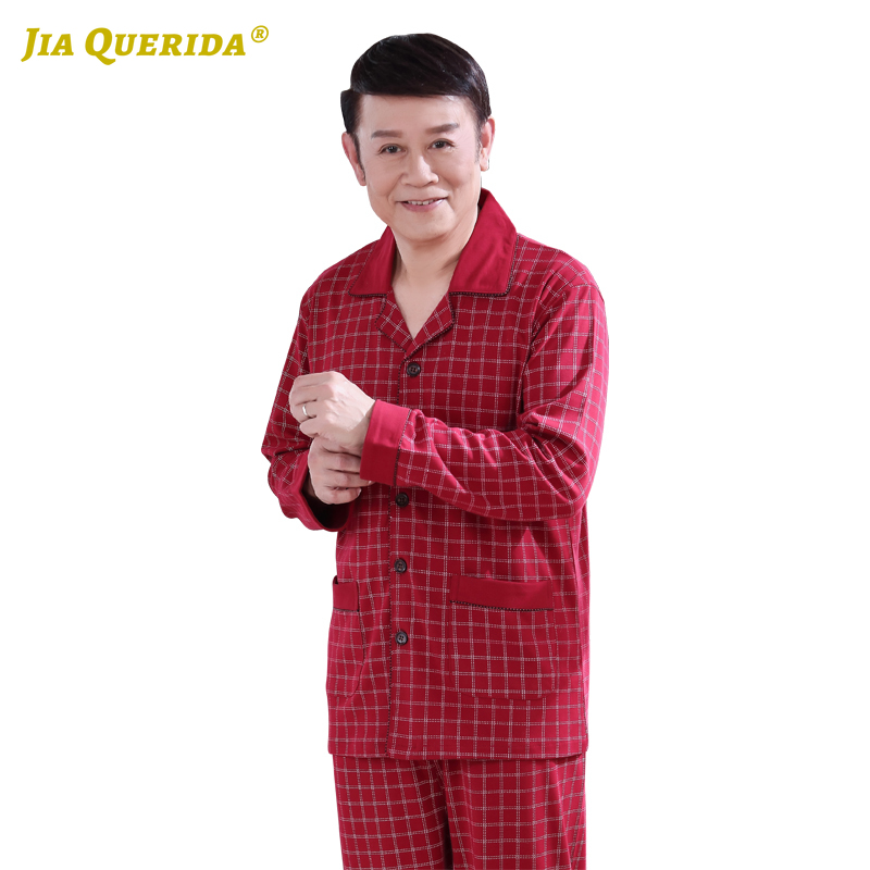 Father's Sleepwear Xxxxl Men Red Homesuit Homeclothes Fashion Style Long Sleeve Long Pants Sleepwear Turn Down Collar Casual