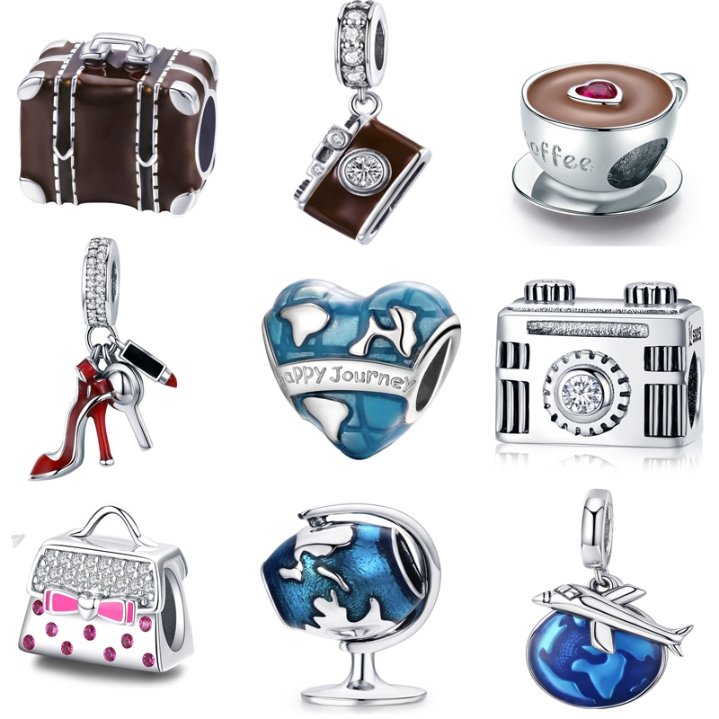 Authentic 925 Sterling Silver travel dream coffee cup shoes camera charm berloque beads Fit Pan Bracelet Original DIY Jewelry