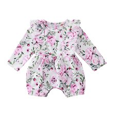 Baby Girls Fashion Long Sleeve Romper Full Body Floral Print Cotton Round Neck Jumpsuit(China)