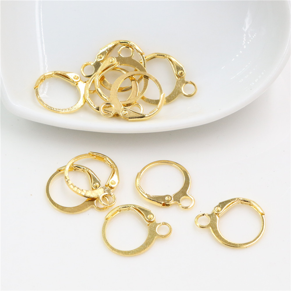14x12mm 30pcs High Quality Gold Colors Plated Brass French Earring Hooks Wire Settings Base Whole Sale-L3-43