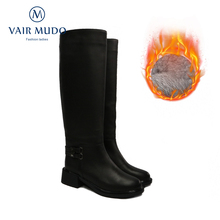 Warm Shoes Winter Boots Low-Heels Black Genuine-Leather Adult ZT22 Fat-Feet Wool Vair Mudo