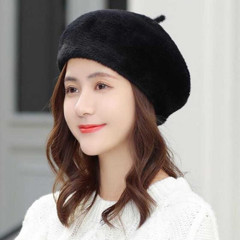 الشتاء الأرنب الفراء القبعات القبعات للنساء عارضة بلون الخريف فتاة الشتاء قبعة الإناث بونيه قبعات بوينا Feminino