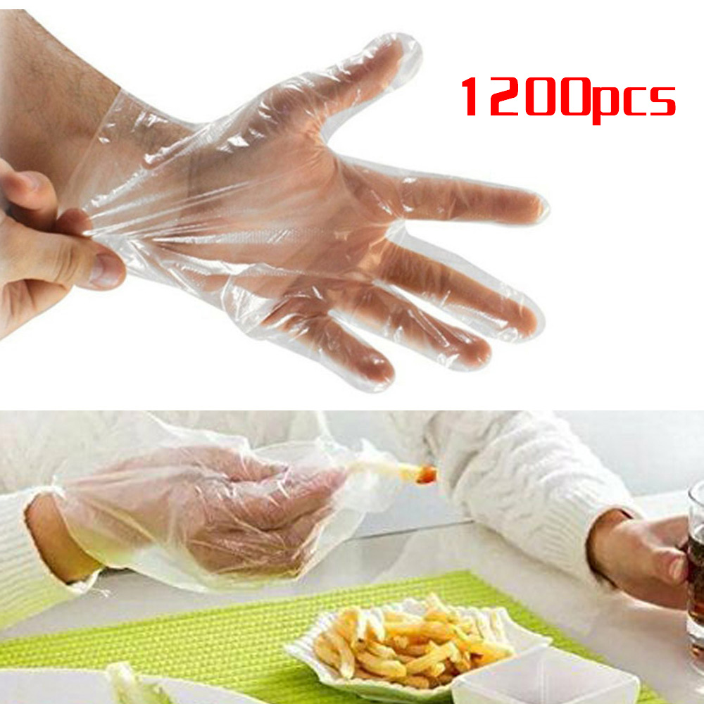 1200PCS Clear Disposable Gloves Protective PE Healty Plastic Food Cleaning Home Catering For Left And Right Hand