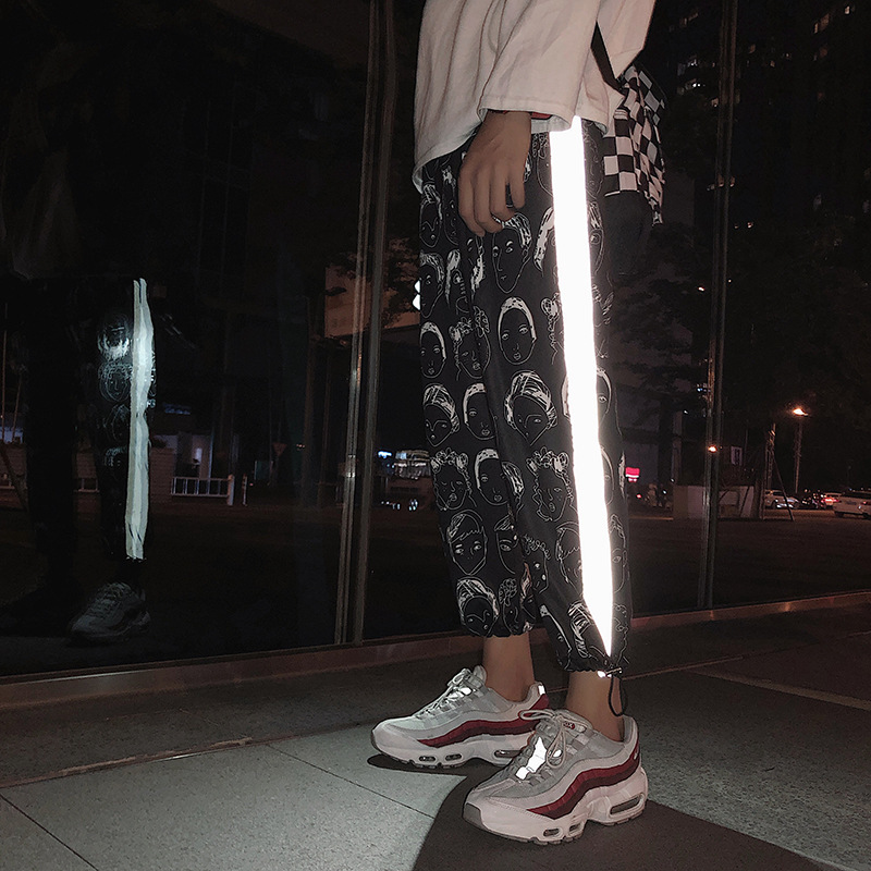 HOUZHOU Reflective Pants Women Hip Hop Joggers Women Pant Female Printing Trousers Gothic Plus Size Streetwear Pantalones Mujer