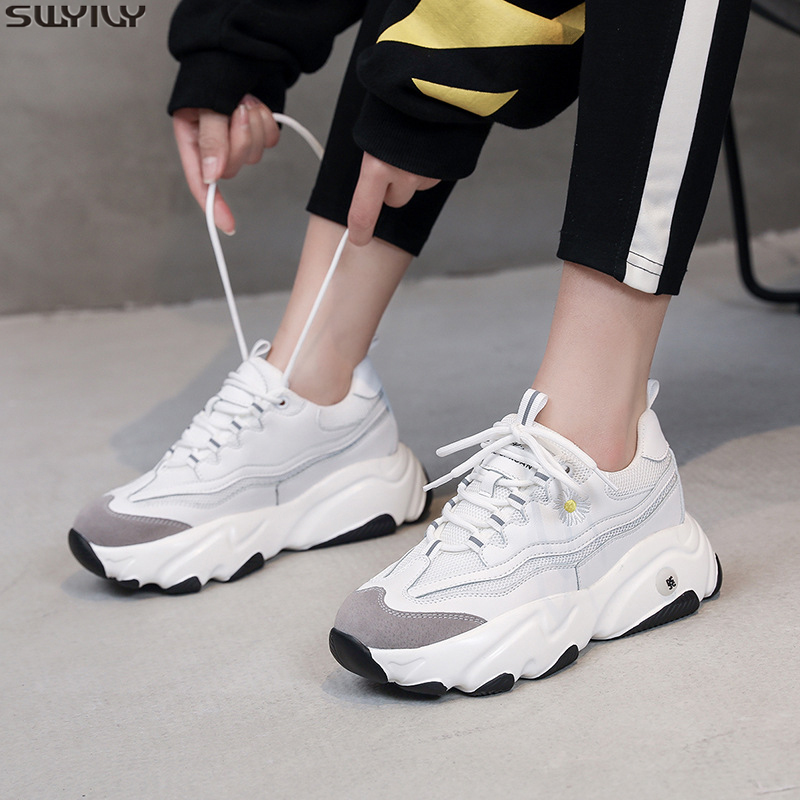 SWYIVY Mesh Breathable Casual Shoes Woman White Sneakers Platform New 2020 Spring Trend Chunky Sneakers Women Shoes Solid Sewing
