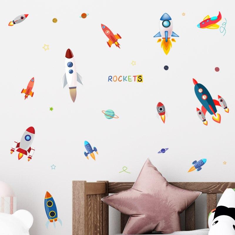 Zollor dessin animé espace extérieur fusée autocollant mural chambre d'enfants maternelle classe créative autocollant décoratif amovible