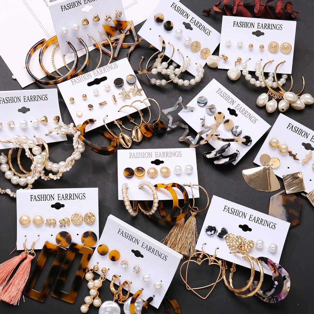 17KM Tassel Acrylic Earrings For Women Bohemian Earrings Set Big Geometric Drop Earring 2019 Brincos Female DIY Fashion Jewelry