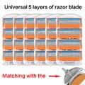 Для мужчин ручной бритва машина для бритвенных лезвий 5 Слои кассет с Replacebale лезвия, совместимые с общим