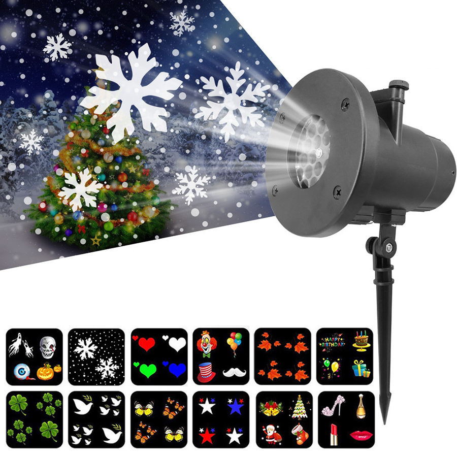 Thrisdar 12 Pattern Outdoor Christmas Snowflake Projector Lamp Landscape Birthday Halloween Wedding Snowfall Laser Spotlight