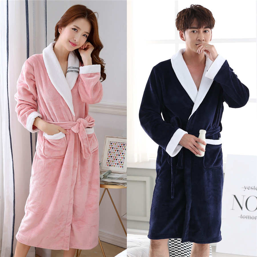Kimono Bathrobe Gown For Men&women Nightgown Solid Colour Home Dressing Gown Intimate Lingerie V-neck Sleepwear Plus Size 3XL