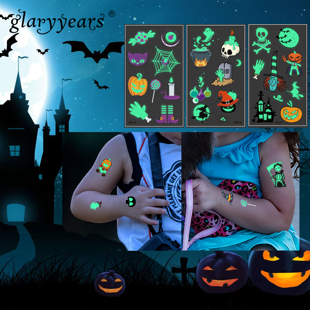 Glaryyears 1 Sheet Halloween Kids Temporary Tattoo Sticker Luminous Fake Pumpkin Makeup Flash Waterproof  Fashion Small Body Art