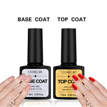 Dasar dan Top Coat Gel Cat Kuku UV 7.5 Ml Transparan Rendam Off Primer Gel Polandia Gel Lacquer Nail Art manikur Primer Dropship(China)