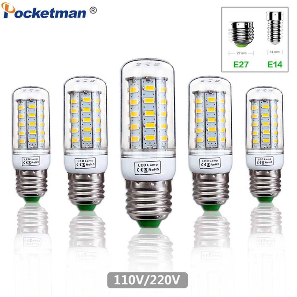 LED Corn Bulb E27 E14 110/220V SMD5730 <font><b>48</b></font>/69Leds Light Lampada LED chandelier lighting Energy Saving Light for Home Decoration image