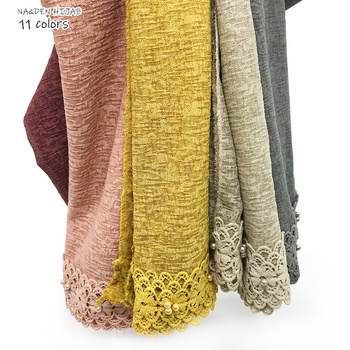 Women lace hijab scarf embroidery lace pearl edge design fashion scarves and shawls echarpe muffler luxury muslim hijabs