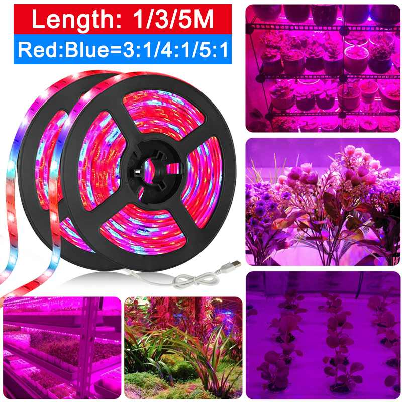 1/3/5M LED Grow Light Strip USB Full Spectrum Grow Strip Lamp Red +Blue Growing Lamp for Hydroponics Flowers Plants Vegetable