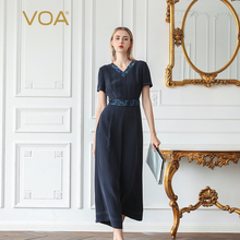 Ladies Jumpsuits Short-Sleeve V-Neck Summer Women Luxury High-Waist Tunic VOA Silk K657