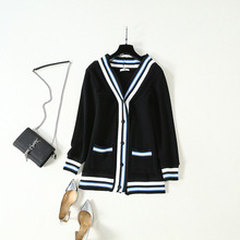2019 Stars Wear The Same Matching Color Languid Lazy and Relaxed Mid-length Casual Cardigan Coat Outside Sweater Women