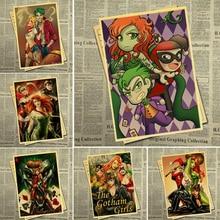 Cartel Vintage personaje de aminación Harley Quinn póster decoración papel Kraft pared impresión arte usado en café niños hogar