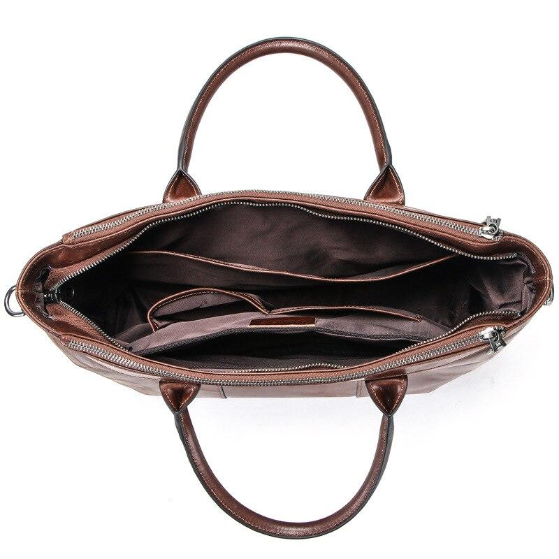 Bolso de cuero Casual para hombres, Maletín de negocios, bolsos para hombres, bolso para ordenador de 14 pulgadas, bolso para ordenador portátil de cuero genuino marrón, bolso de viaje - 3
