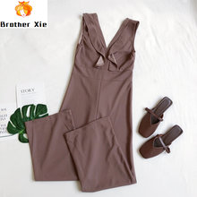 2020 Spring/Summer New Fashion Sexy Deep V-Neck Ruffles Sleeveless High Waist Slender Legs Jumpsuit Woman(China)