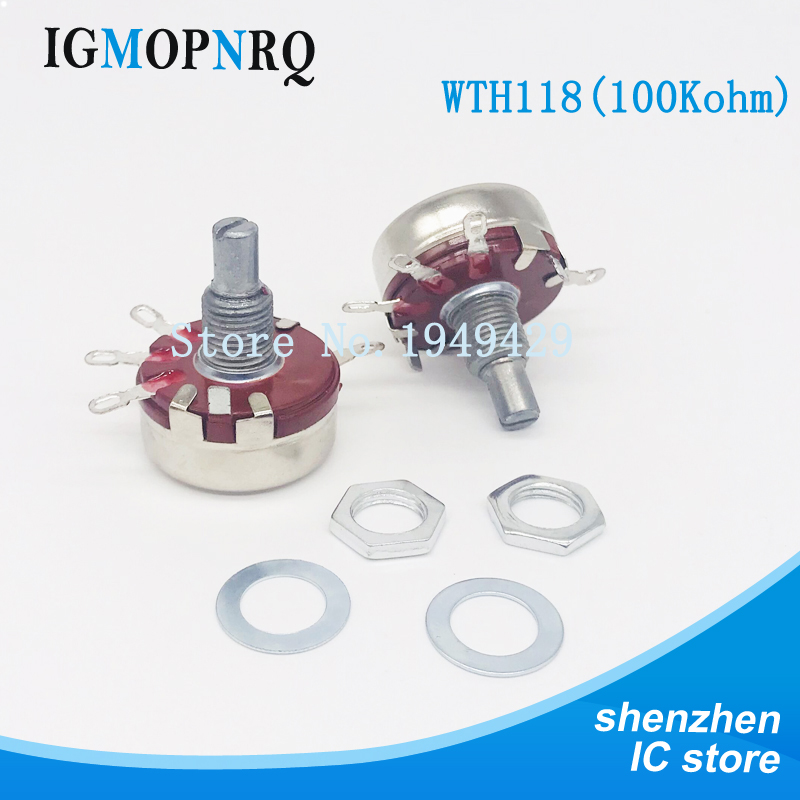 2PCS WTH118 1K 2.2K 4.7K 10K 22K 47K 100K 470K 1M 2W 1A Potentiometer New Authentic Variable Resistor VR Resistance 100K Ohm
