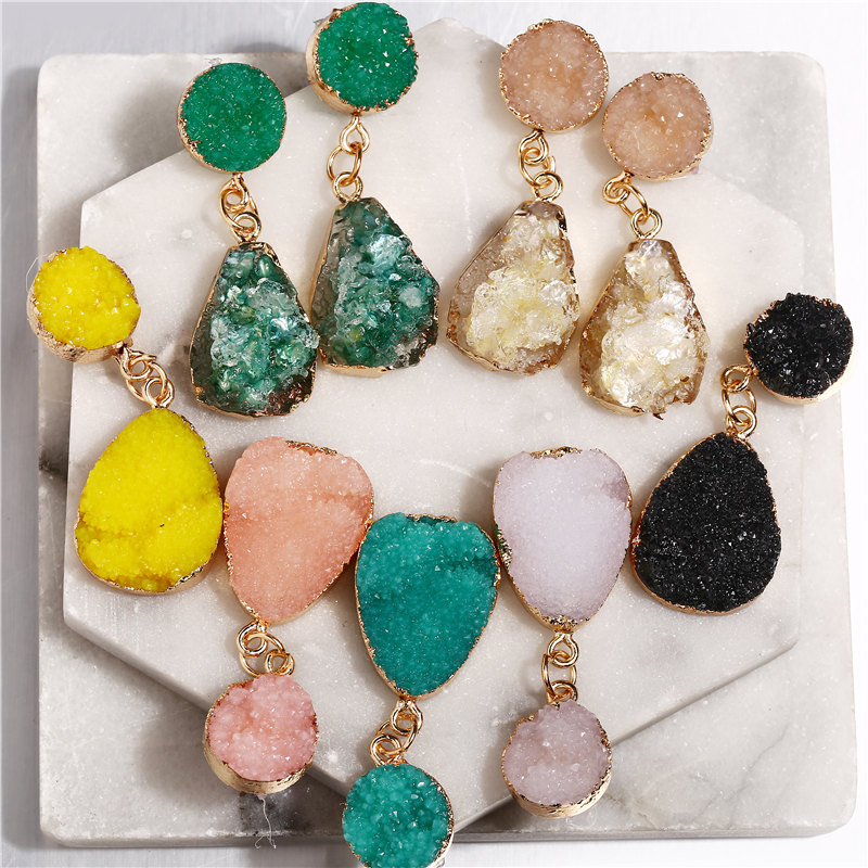 IF YOU ZA Natural Stone Resin Dangle Earrings for Women Vintage Geometric Pink Green Druzy Drop Earring Fashion Jewelry 2020