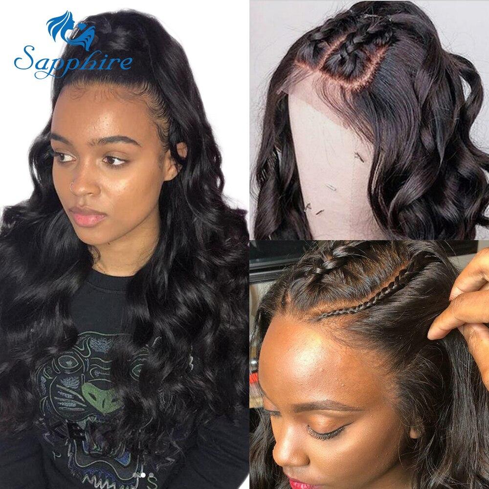 Ha12348bb9c9d4b639cbe8480b7e2ad111 Sapphire Brazilian Remy Human Hair Wigs 4X4 Pre Plucked Brazilian Body Wave Lace Closure Wigs With Baby Hair For Black Women