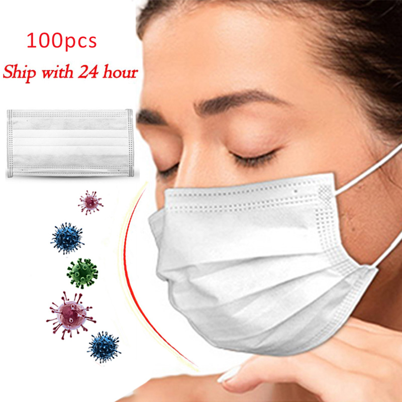 100 PCS Disposable Safety Surgical Masks Three Layer Non-woven Breathable  Anti-dust Smog Virus Ear Band Mask White Mask