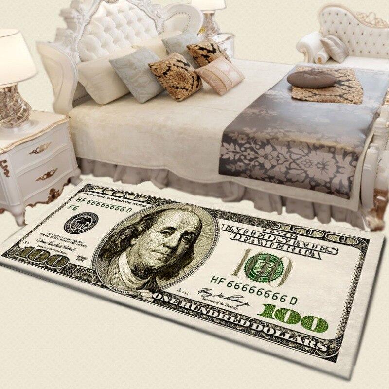 One Hundred Dollar 100 Bill Print Area Rug With Non-Slip Backing Modern Home Decor Carpet Runner Mat