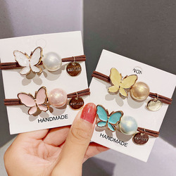 New Women Girls Cute Colorful Alloy Butterfly Elastic Hair Rubber Bands Sweet Ponytail Holder Scrunchie Fashion Hair Accessories