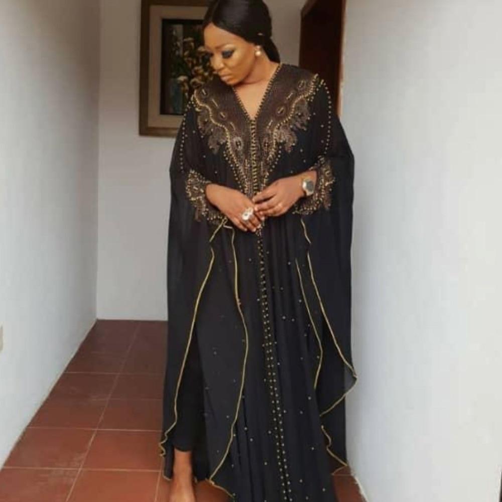 Plus Size Elegant Muslim Designer Chiffon Dresses Runway 2019 High Quality Black African Clothing Fashion Beading Cardigan Cloak(China)