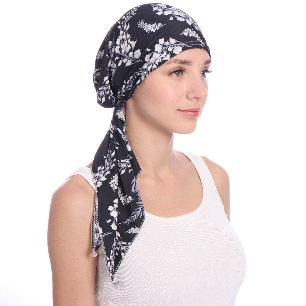2020 Fashion Muslim Women's Hijab Caps Cotton Printed Flowers Head Scarf Turban Femme Musulman Islamic Wrap Inner Hijabs Bonnet