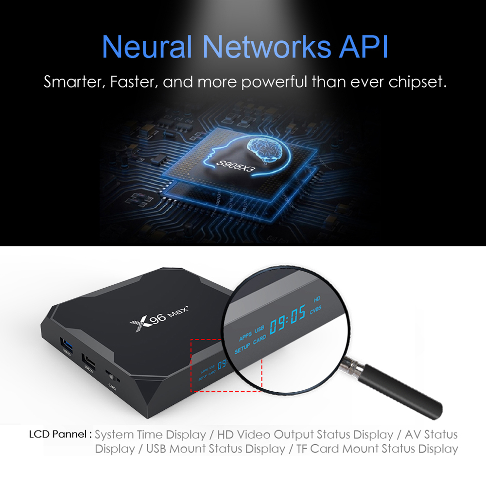 A95x x96 max plus android 9.0 tv box amlogic s905x3 4gb 64gb 8k 1000m media player 2.4g&5g dual wifi youtube netflix set top box tv