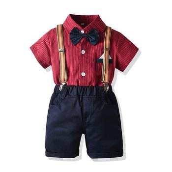 Kid Boy Birthday Party Clothes Set Formal Suit Bow Tie Summer Kids Red Striped Shirt Shorts Children Graduation Gown Outfit Gift 1