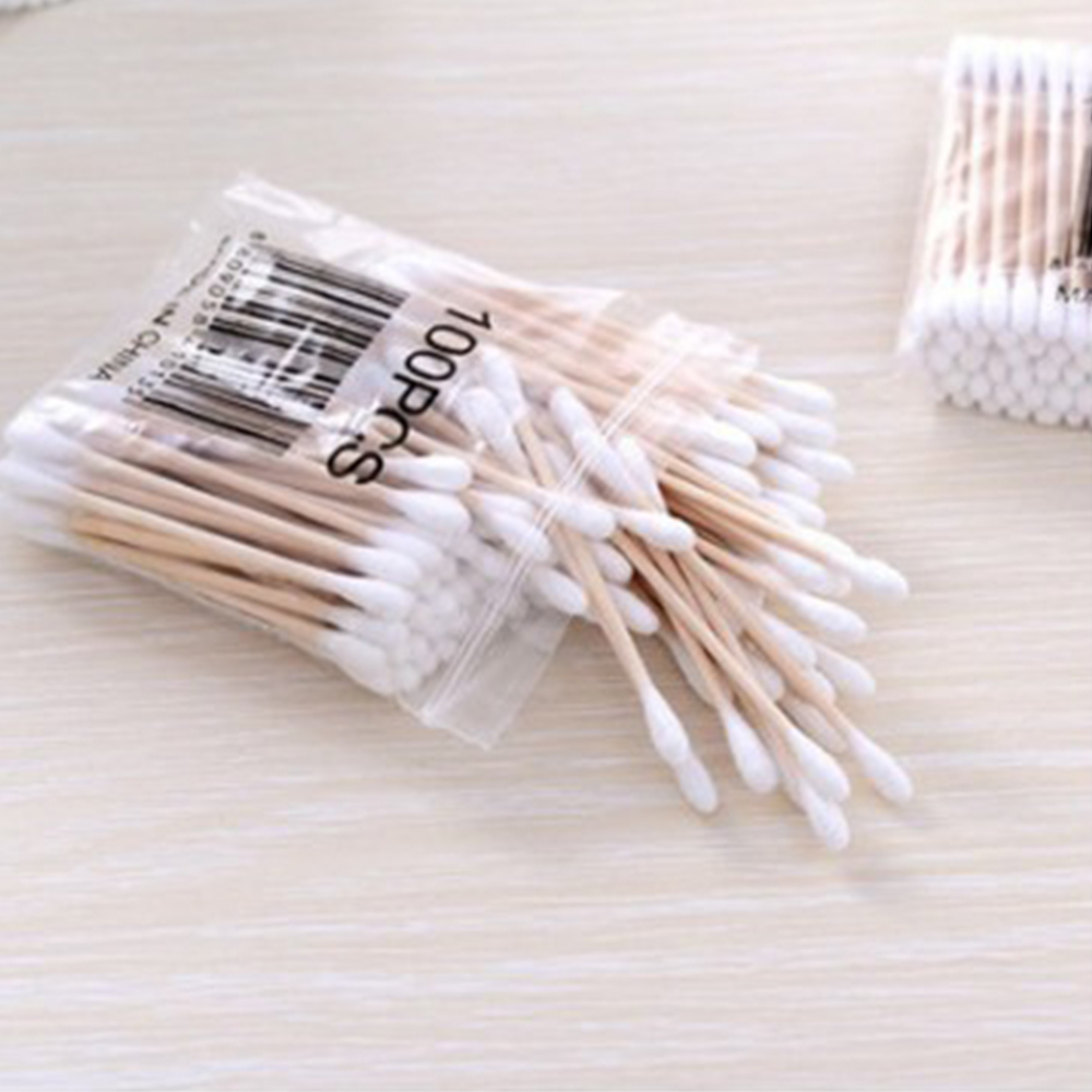 100 Pcs/ Pack Double Head Cotton Women Makeup Buds Tip For Medical Wood Sticks Nose Ears Cleaning Health Care Tools
