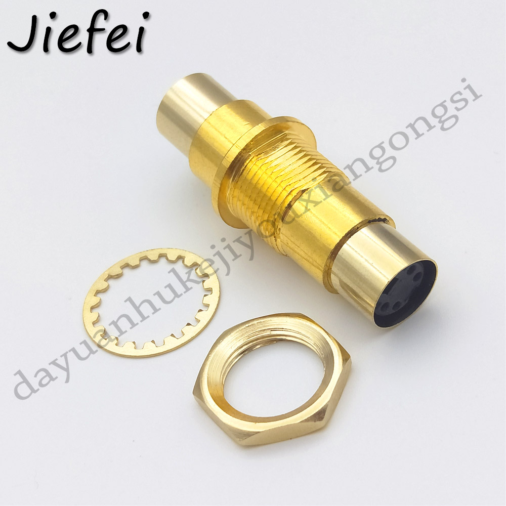 1PCS Gold plated S-Video Coupler Adapter <font><b>4</b></font> <font><b>Pin</b></font> <font><b>Mini</b></font> <font><b>Din</b></font> Wall/Panel To Female Plate/Chassis Mount image