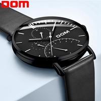 Dom 남자 시계 럭셔리 브랜드 멀티 기능 망 스포츠 쿼츠 시계 방수 가죽 블랙 손목 시계 남자 시계 M-511D-7M