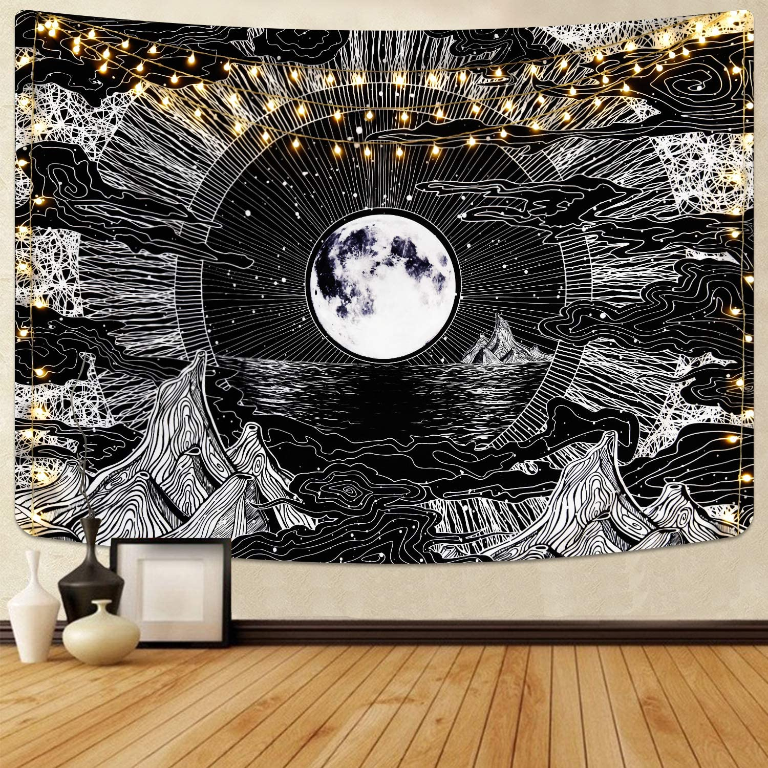 LUCKYYJ Black Tapestry Moon and Star TapestryPsychedelic Mountain Tapestries Clouds Tapestry Home Room decor aesthetic