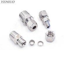 Conector de compressão de punho duplo, ss 304 aço inoxidável 6mm 8mm 10mm 12mm tubo para 1/8