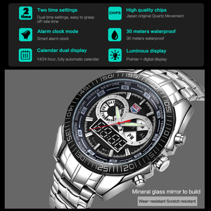 Image 5 - Men Watches waterproof Quartz Watch Double display Sport TVG Brand Digital LED Military writewatch Stainless Steel Male Clock