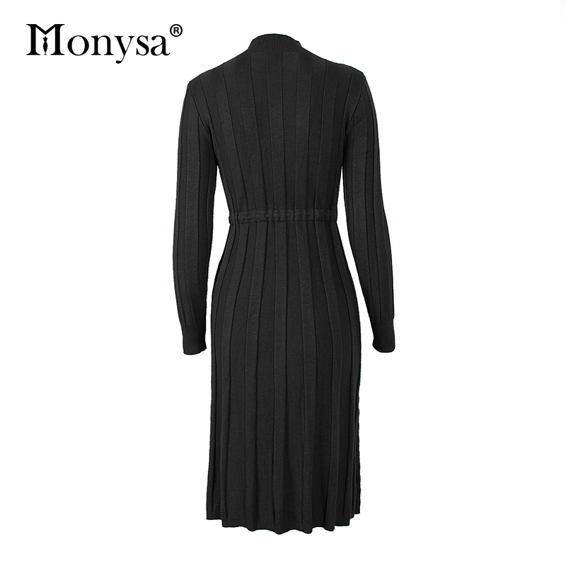 Autumn Winter Dresses 2019 New Arrival Fashion Casual Knee Length Knitted Dress Ladies Long Sleeve Sweater Dresses Black Blue 89